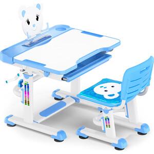 все цены на Комплект мебели (столик + стульчик) Mealux BD-04 XL blue столешница белая/пластик синий онлайн
