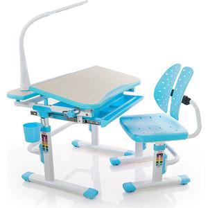 Комплект мебели (столик + стульчик лампа) Mealux EVO-05 BL с лампой столешница клен/пластик голубой