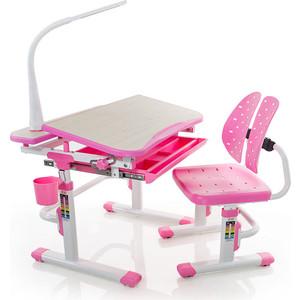 Комплект мебели (столик + стульчик лампа) Mealux EVO-05 PN с лампой столешница клен/пластик розовый