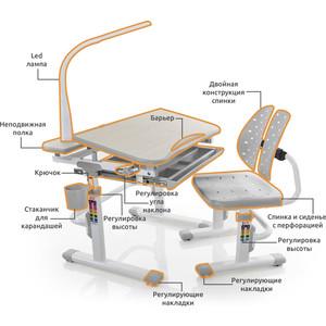 Комплект мебели (столик + стульчик лампа) Mealux EVO-05 G с лампой столешница клен/пластик серый