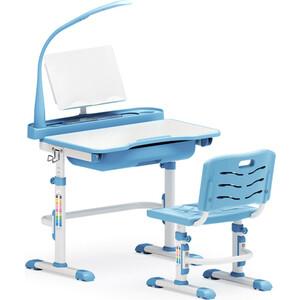 Комплект мебели (столик + стульчик + лампа) Mealux EVO-17 BL столешница белая/пластик голубой