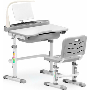 Комплект мебели (столик + стульчик + лампа) Mealux EVO-17 G (с лампой) столешница белая/пластик серый