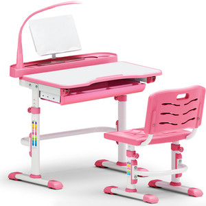 Комплект мебели (столик + стульчик + лампа) Mealux EVO-18 PN столешница белая/пластик розовый