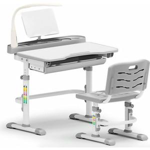 Комплект мебели (столик + стульчик лампа) Mealux EVO-18 G (с лампой) столешница белая/пластик серый