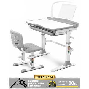 Комплект мебели (столик + стульчик лампа) Mealux EVO-19 G с лампой столешница белая/пластик серый