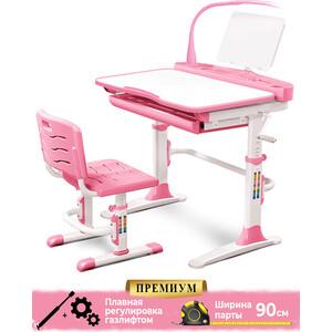 Комплект мебели (столик + стульчик лампа) Mealux EVO-19 PN столешница белая/пластик розовый