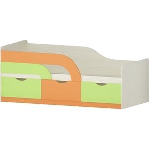 Кровать Атлант Карамель 74-01 бодега светлый/зеленый/оранжевый