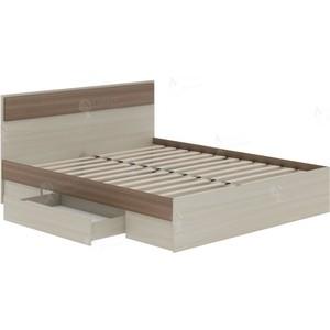 Кровать Атлант Некст 73 с ящиком ясень шимо темный, светлый