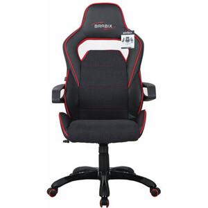 Кресло компьютерное Brabix Nitro GM-001 ткань, экокожа, черное, вставки красные 531816