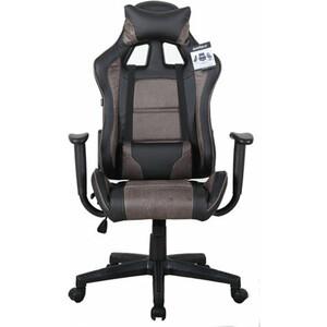 Кресло компьютерное Brabix GT Racer GM-100 две подушки, ткань, экокожа, черное/коричневое 531819