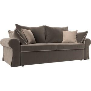 Диван прямой АртМебель Элис велюр коричневый с бежевыми подушками