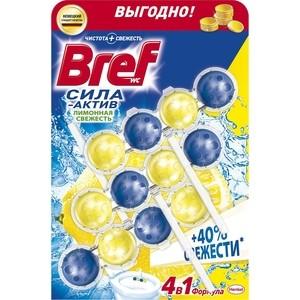 Чистящее средство для унитаза Bref Сила-актив лимонная свежесть 3 х 50 г формула 4 в 1 чистящее средство для унитаза сила актив свежесть лаванды bref 3х50 гр