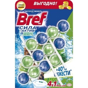 Чистящее средство для унитаза Bref Сила-актив хвойная свежесть 3 х 50 г формула 4 в 1 чистящее средство для унитаза bref сила актив свежесть лаванды 50г