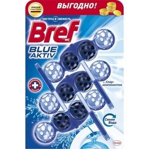 Чистящее средство для унитаза Bref Блю-актив с хлор компонентом 3 х 50 г блок bref сила актив лимонная свежесть для туалета