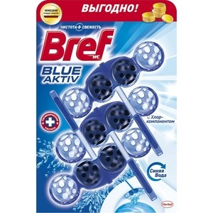 Чистящее средство для унитаза Bref Блю-актив с хлор компонентом 3 х 50 г