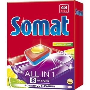 Таблетки для посудомоечной машины (ПММ) Somat all in one 48 шт с ароматом лимона и лайма бытовая химия somat ополаскиватель для посудомоечной машины 750 мл