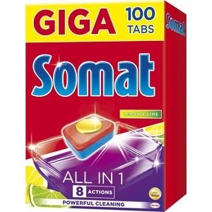 Таблетки для посудомоечной машины (ПММ) Somat all in one 100 шт с ароматом лимона и лайма одуванчик п 205мг 100 таблетки