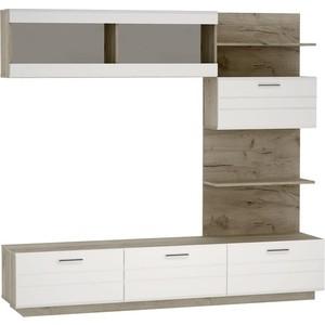 Гостиная Vivat - мебель Глейс-01 (тумба центральная ТБ-200) белый глянец/дуб серый