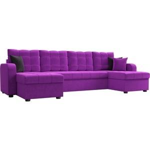 Диван АртМебель Ливерпуль микровельвет фиолетовый П-образный