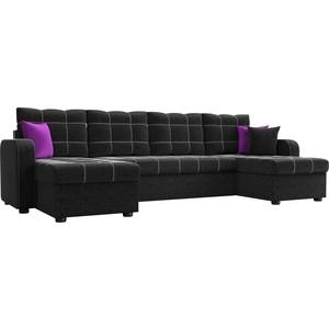 Фото - Диван АртМебель Ливерпуль микровельвет черный П-образный диван артмебель триумф п slide микровельвет черный