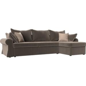 Диван угловой Лига Диванов Элис велюр коричневый с бежевыми подушками правый угол