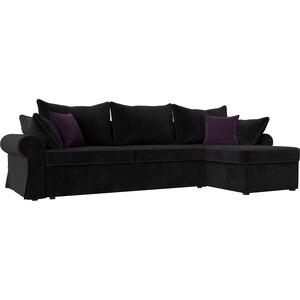 Диван угловой Лига Диванов Элис велюр черный с фиолетовыми подушками правый угол диван лига диванов элис велюр бежевый с коричневыми подушками п образный