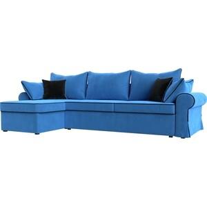 Диван угловой Лига Диванов Элис велюр голубой с черными подушками левый угол