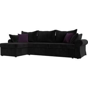 Диван угловой Лига Диванов Элис велюр черный с фиолетовыми подушками левый угол диван лига диванов элис велюр бежевый с коричневыми подушками п образный