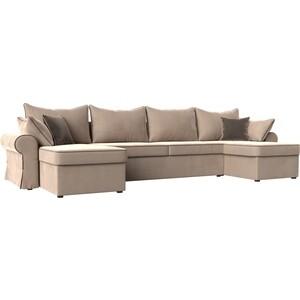 Диван Лига Диванов Элис велюр бежевый с коричневыми подушками П- образный диван лига диванов элис велюр бежевый с коричневыми подушками п образный