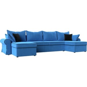 Диван АртМебель Элис велюр голубой с черными подушками П- образный