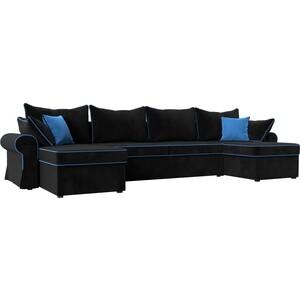 Диван Лига Диванов Элис велюр черный с голубыми подушками П- образный