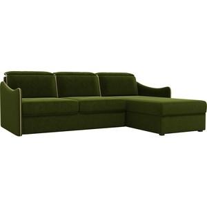 Диван угловой АртМебель Скарлетт вельвет зеленый правый угол диван угловой артмебель скарлетт вельвет бежевый правый угол