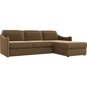 Диван угловой АртМебель Скарлетт вельвет коричневый правый угол диван угловой артмебель скарлетт вельвет бежевый правый угол