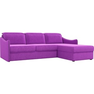 Диван угловой Лига Диванов Скарлетт вельвет фиолетовый правый угол