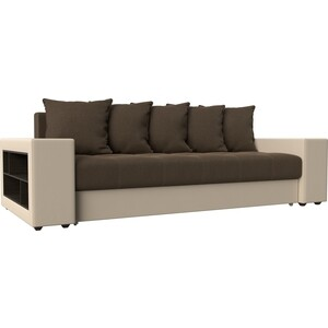 Диван прямой АртМебель Дубай рогожка коричневый эко кожа бежевый диван прямой артмебель дубай рогожка серый эко кожа черный