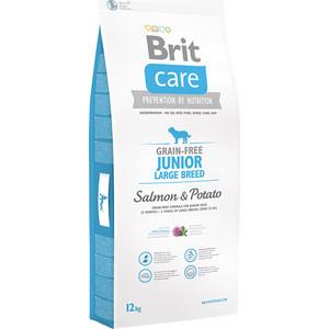 Сухой корм Brit Care Junior Large Breed Grain Free Salmon & Potato беззерновой с лососем и картофелем для юниоров крупных пород 12кг (132721)