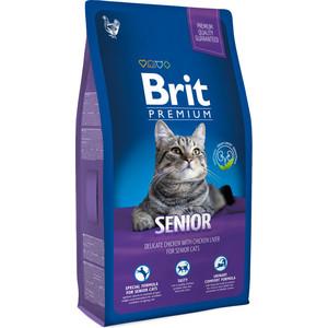 Сухой корм Brit Premium Cat Senior с курицей и печенью для пожилых кошек 1,5кг (513321)