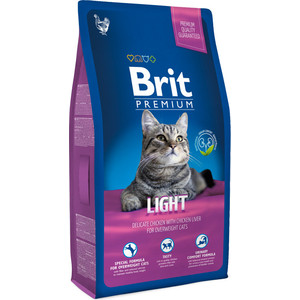 Сухой корм Brit Premium Cat Light с курицей и печенью для кошек склонных к излишнему весу 1,5кг (513284)