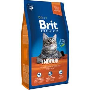 Сухой корм Brit Premium Cat Indor с курицей и печенью для домашних кошек 8кг (513253)