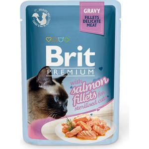 Паучи Brit Premium Cat Sterilised Salmon Fillets кусочки с филе лосося в соусе 85г (518562)