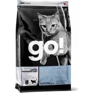 Сухой корм GO! NATURAL Holistic Cat Sensitivity+ Shine Grain Free Pollock Recipe беззерновой с минтаем для котят и кошек 7,26кг (20978)