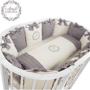 Комплект детского постельного белья Pituso для овальной и круглой кровати АМЕЛИ 6пр.Сатин Серый АС615