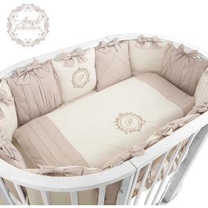 Комплект детского постельного белья Pituso для овальной и круглой кровати АМЕЛИ 6пр.Сатин Кофейный АК615