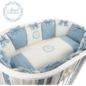Комплект детского постельного белья Pituso для овальной и круглой кровати АМЕЛИ 6пр.Сатин Голубой АГ615
