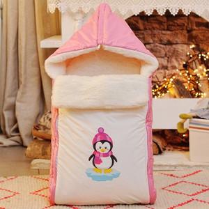 Конверт меховой АРГО ПИНГВИН Розовый ЗИМА 0142/МР конверт на выписку супермамкет justcute совы зима флис бант