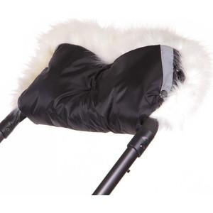 Муфта для рук Герасимова Премиум отделка длинноворсовый мех шерстяной мех+плащевка черная 353 муфта варжеки для коляски bambola шерстяной мех плащевка черные