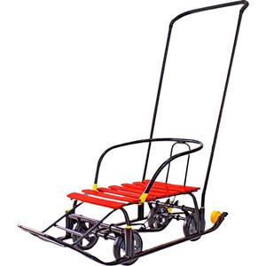 Санки GALAXY Snow Black Auto красные рейки на больших мягких колесах фото