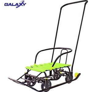 Санки GALAXY Snow Black Auto лимонные рейки на больших мягких колесах