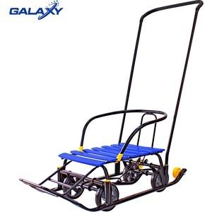 Санки GALAXY Snow Black Auto синие рейки на больших мягких колесах