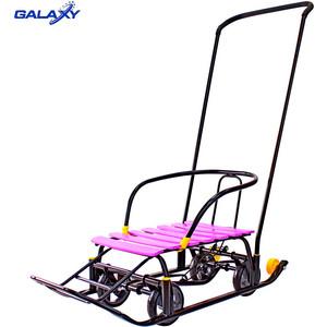 Санки GALAXY Snow Black Auto сливовые рейки на больших мягких колесах снегомобиль snow galaxy black auto розовые рейки на больших мягких колесах